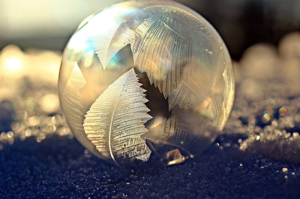 soap bubble, frost bubble, ice crystals